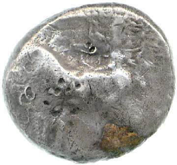 Εμπροσθότυπος 'SilCoinCy A1878, Mc Clean bequest 9157, acc.no.: CM.MC.9157-R. Silver coin of king Onasi(-) of Paphos . Weight: 10.82g, Axis: 6h, Diameter: 22mm. Obverse type: Bull standing l.; above winged solar disk . Obverse symbol: -. Obverse legend: - in -. Reverse type: Eagle flying l.; ankh below. Reverse symbol: astragalos. Reverse legend: - in -. 'Catalogue of the McClean Collection of Greek Coins, Fitzwilliam Museum'.
